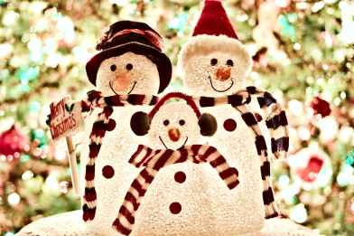 three white snowman decorations